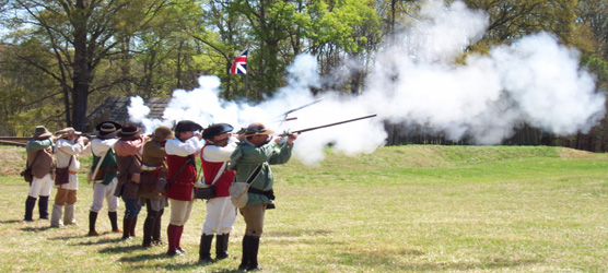 Musket firing by Stockade Fort