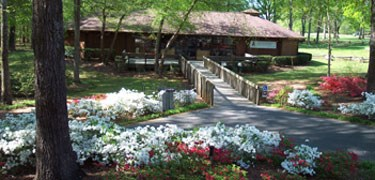 The Visitor Center in Spring with flowers blooming.