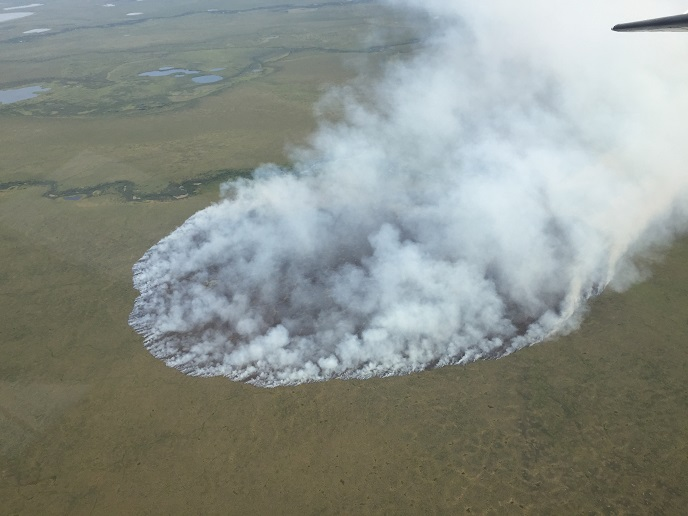 Aerial view of the Eli River Fire on July 17, 2015 at approximately noon