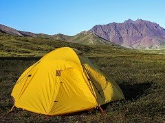 A yellow tent on the tundra