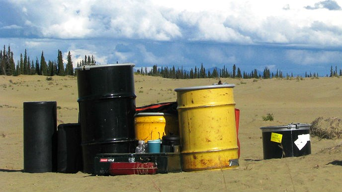 bear-resistant food containers sit on the sand