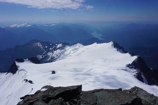 The Sulfide Glacier and Baker Lake from the summit of Mt. Shuksan