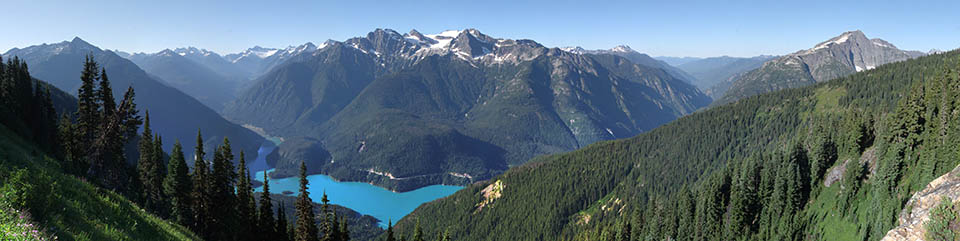 View from Sourdough Mountain Overlook  A view looking down onto Diablo Lake. Photo Credit: NPS/Michael Silverman, 2010.