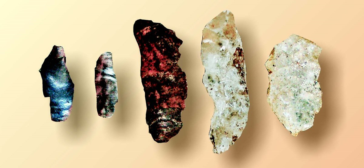 Rock specimens that have been chipped for use as tools.