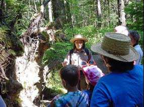 Park Ranger explores nature and trees along the River Loop trail with families.