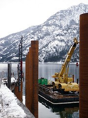Drving new piles for winter ferry landing
