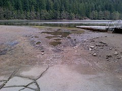 Sediment build up on boat launch.