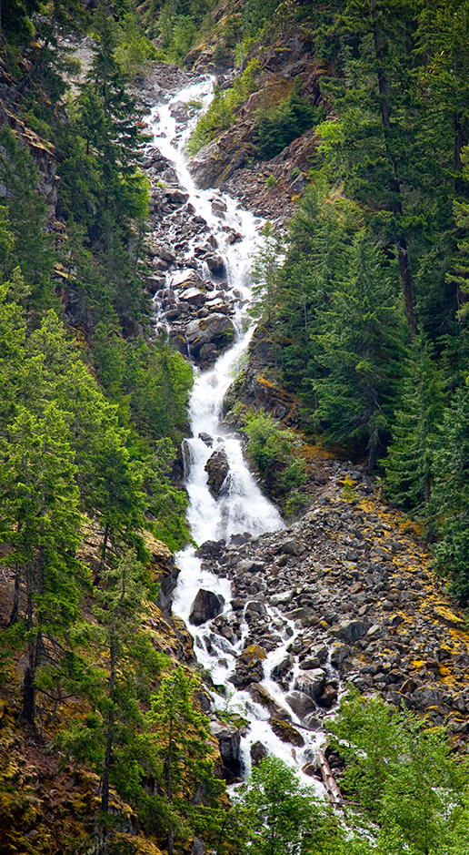 Waterfall, as seen from the Diablo Lake Boat Tour. Image Credit: NPS/Astudillo