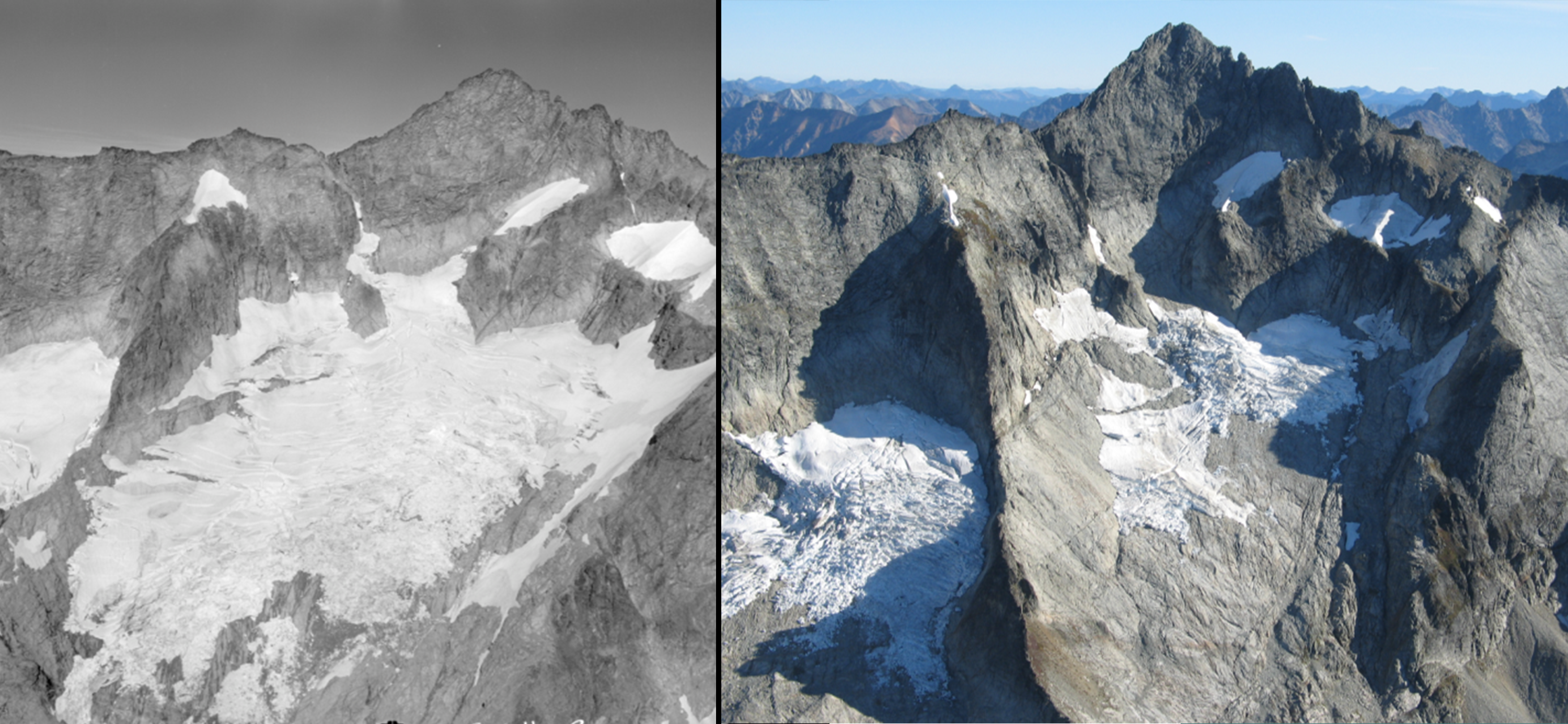 Glacier comparison of receding glacier from 1960 to 2005
