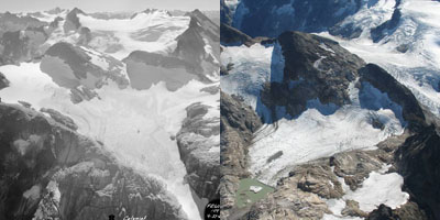 Colonial Glacier in 1960 and 2005