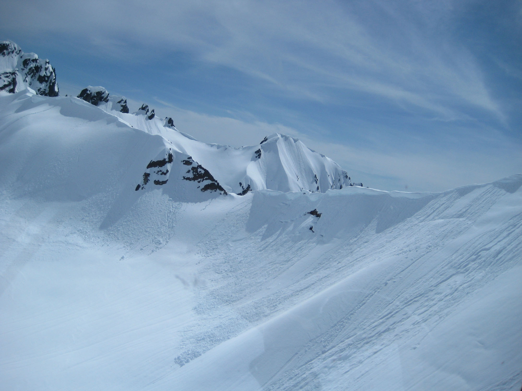 Cornice failures above Noisy Glacier Photo: NPS/Jon Riedel
