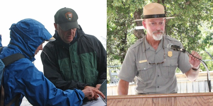 Jon Riedel, left, and Steve Gibbons, right, were honored for their work in natural resource management. Image Credits: ©North Cascades Institute (left), Courtesy/Steve Gibbons (right)