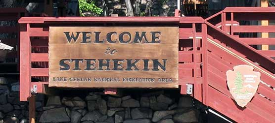 Welcome sign in Stehekin, WA.