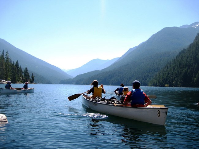 Group in canoes on Ross Lake