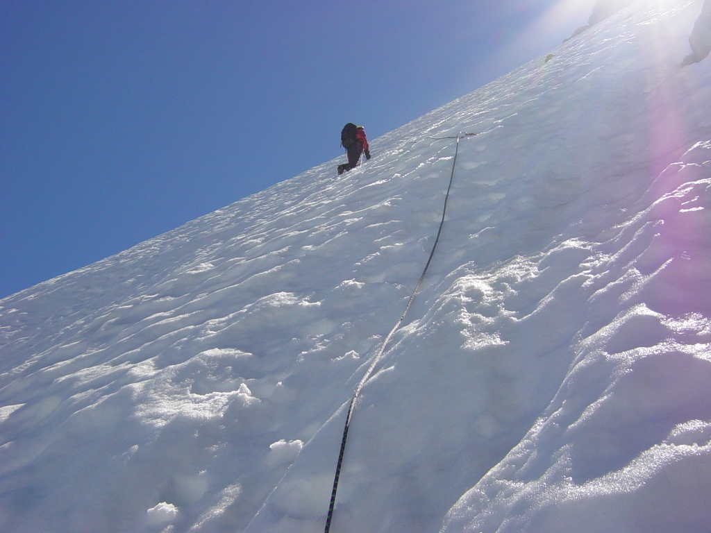 Climber on steep snow of Buckner.