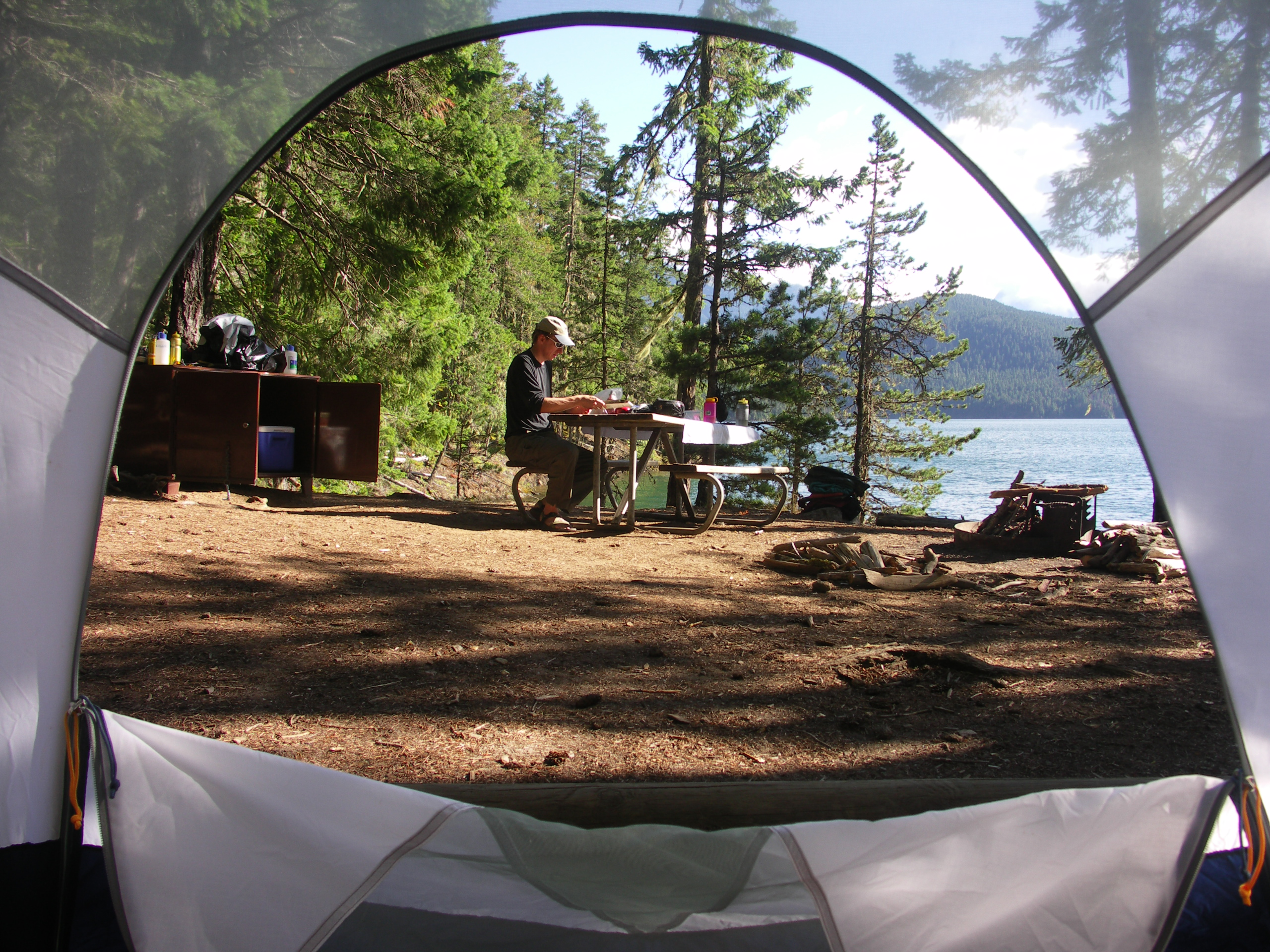 View from tent to picnic table