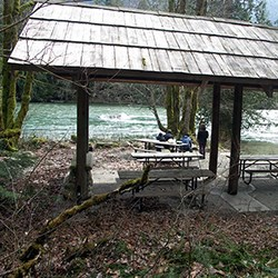 Picnic shelter and boat launch area at Goodell Creek Campground. NPS Photo/R. Seifried