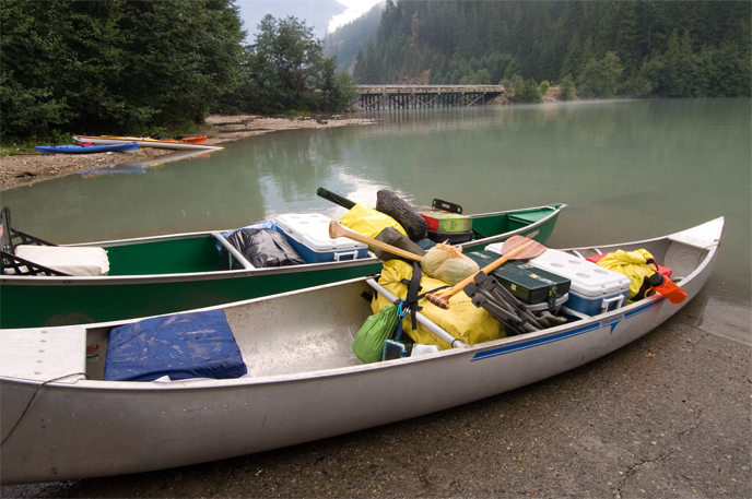 Canoes loaded for camping  prepare to launch at the Colonial Creek boat launch. Image Credit: NPS/NOCA/David Snyder
