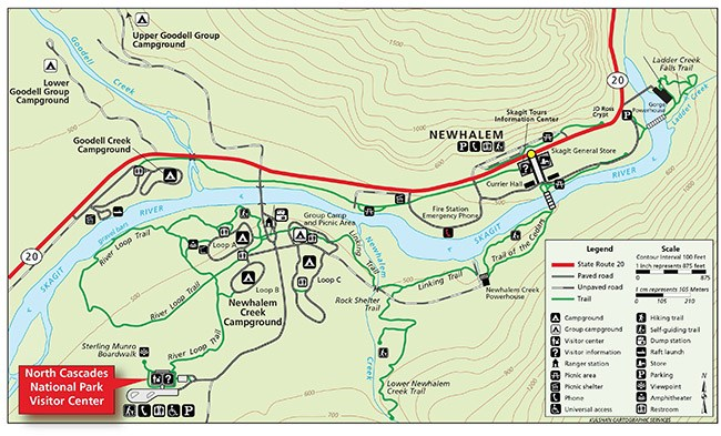 Map showing trails, campgrounds, roads, visitor center and points of interest in the area of Newhalem, Washington.