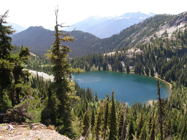 Rainbow Lake from Bowan Pass, Tupshin & Castle in background