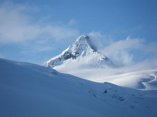 June 27, 2010: The Shuksan summit pyramid viewed from Sulphide Glacier. NPS/Rob Burrows