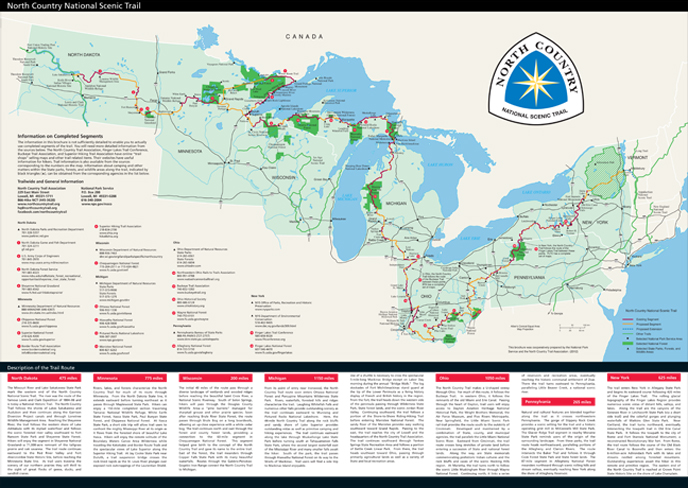 Front page of North Country National Scenic Trail brochure.
