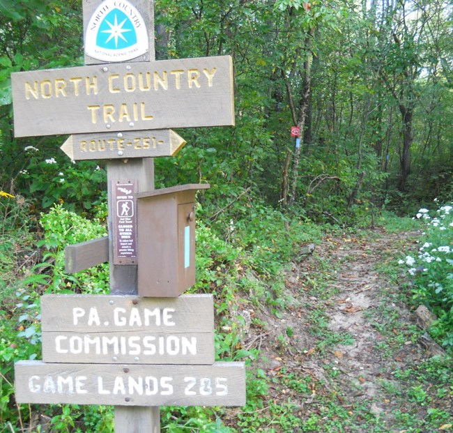 Directional sign on the North Country National Scenic Trail