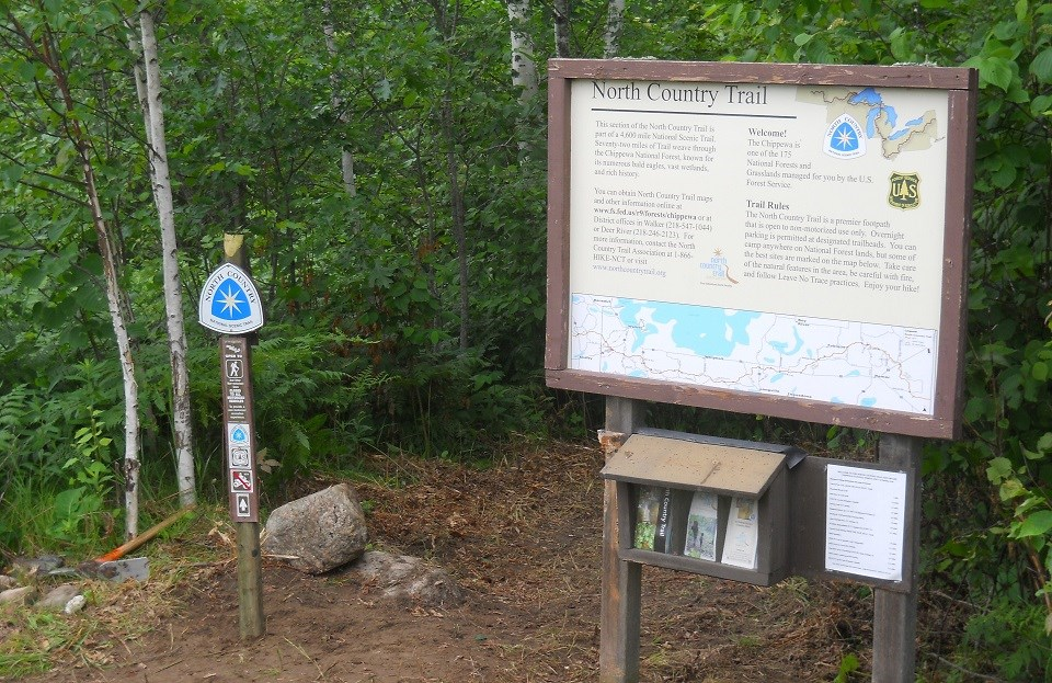 North Country trail sign, left and bulletin board, right surrounded by saplings.
