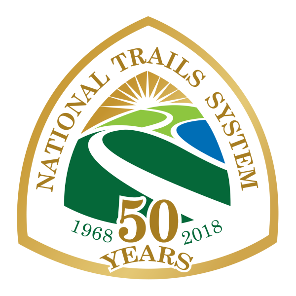 Triangular logo with the words National Trails System 50 Years 1968-2018