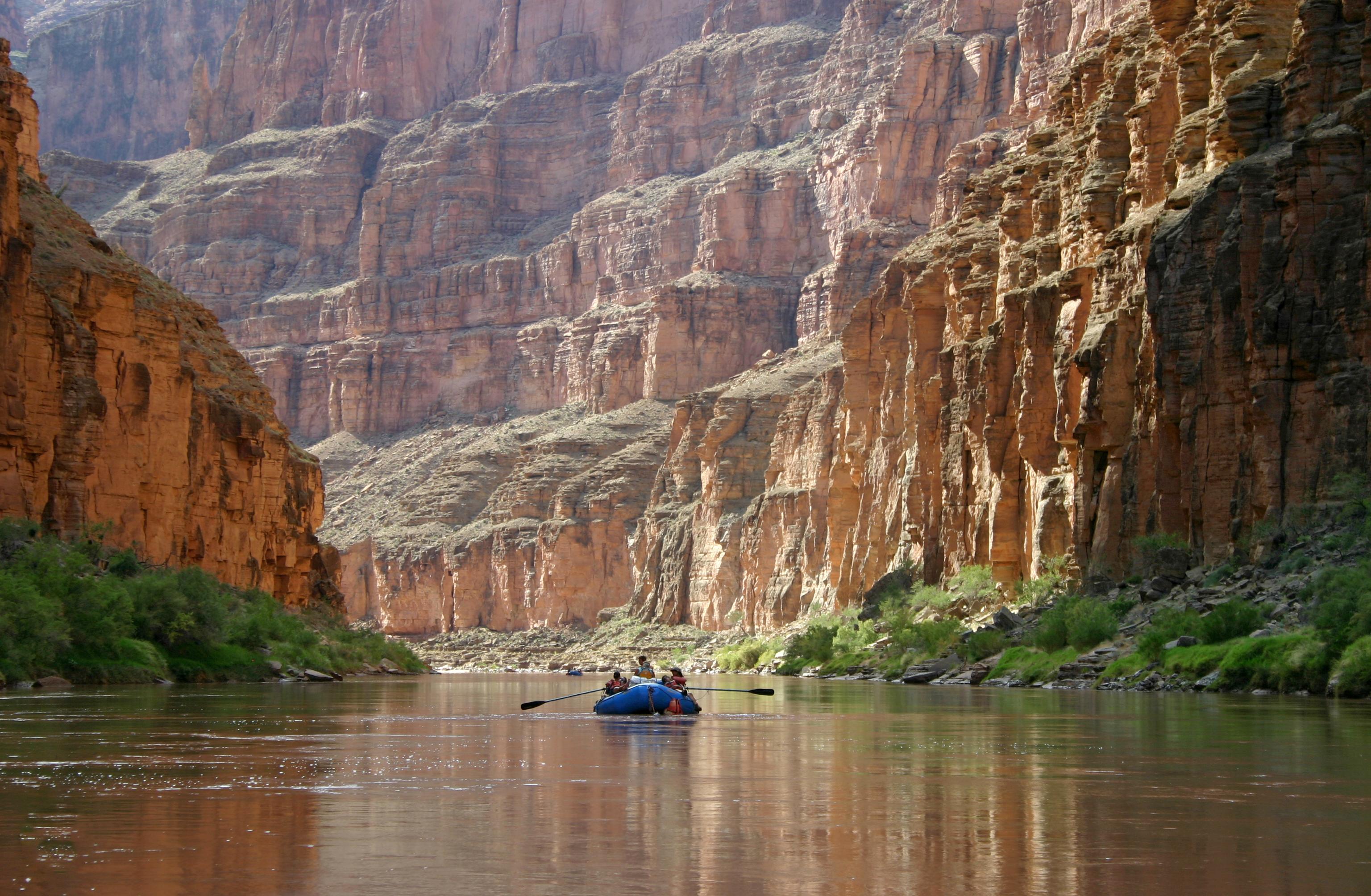 Rafting down Colorado River at Grand Canyon National Park