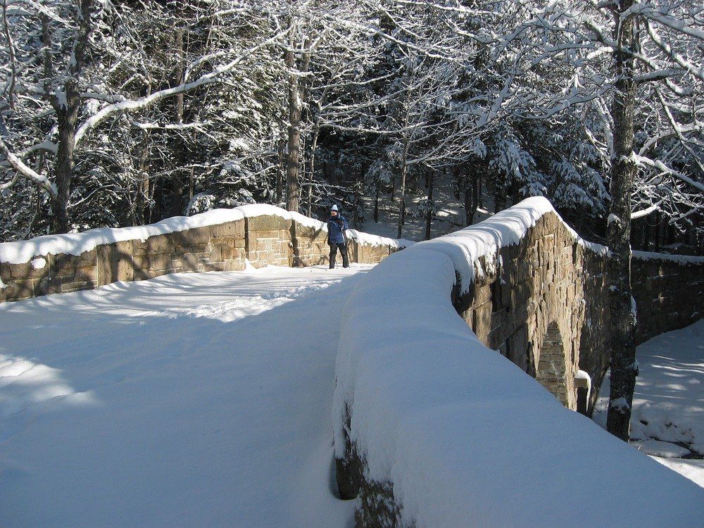 When there is adequate snow, cross-country skiing is a popular activity along the carriage roads.
