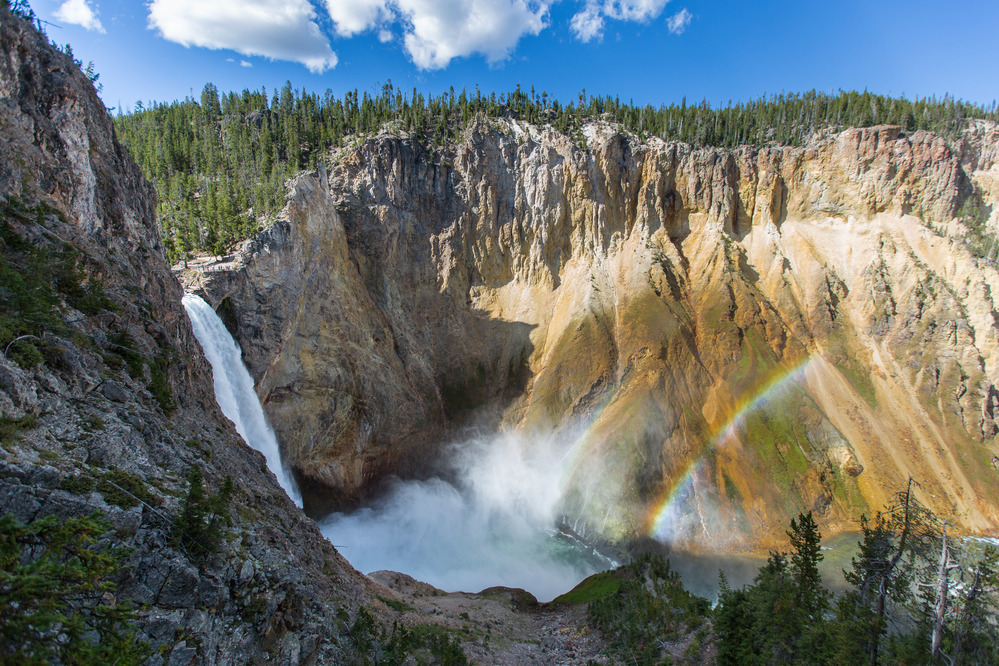 Lower Falls with double rainbow