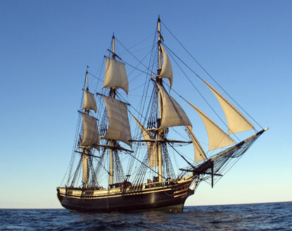 The Friendship of Salem under sail at sea.