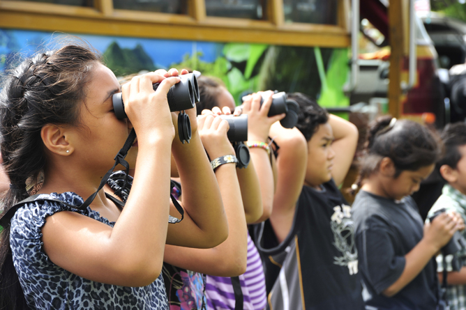 Alataua elementary students bird watching over at Lower Sauma Ridge Trail.