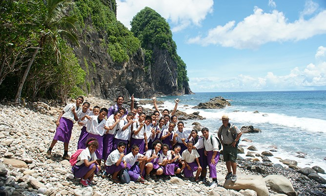 Elementary students at Pola island