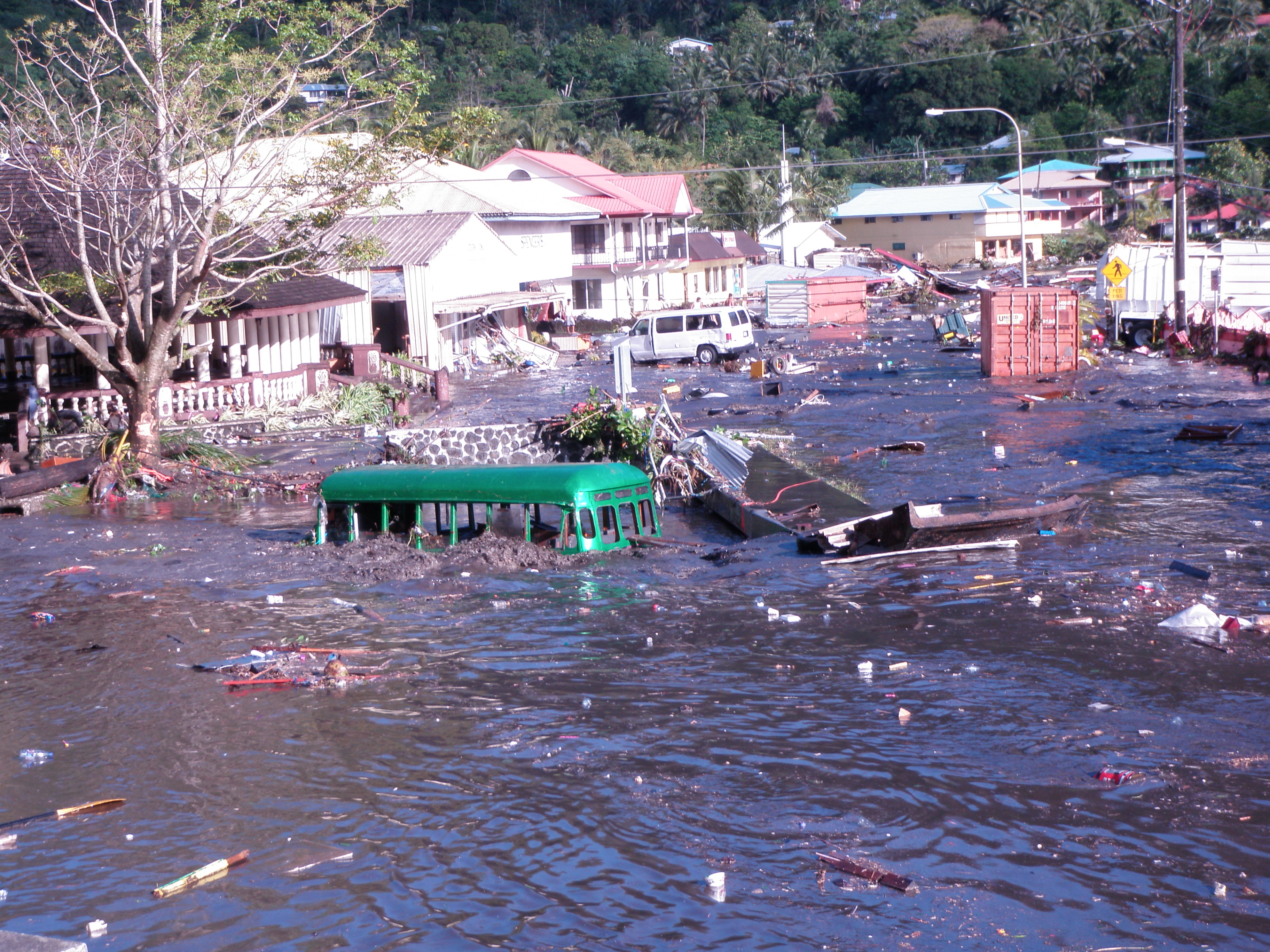 Inundation of Pago by tsunami waves
