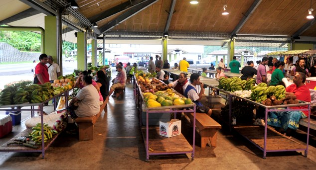 Local market with fresh produce.