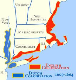 Map Of The 4 New England Colonies.Dutch Colonization