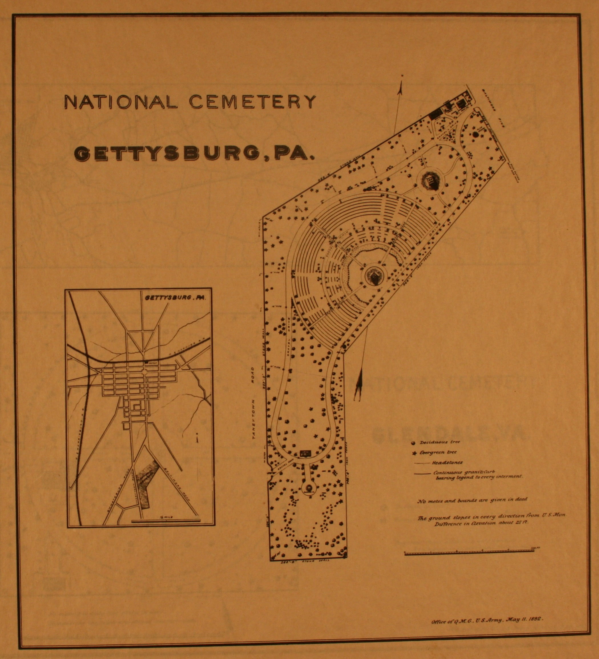 Gettysburg National Cemeterycivil War Era National Cemeteries A   Site Plan Of Gettysburg National Cemetery Courtesy Of The National  Archives And Records Administration Click On Image To Enlarge