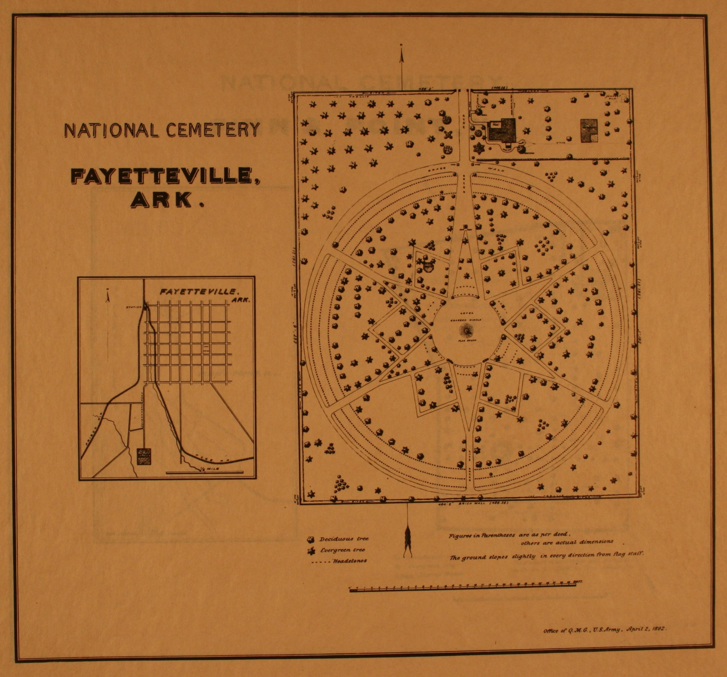 1893 site plan of fayetteville national cemetery courtesy of the national archives and records administration click on image to enlarge