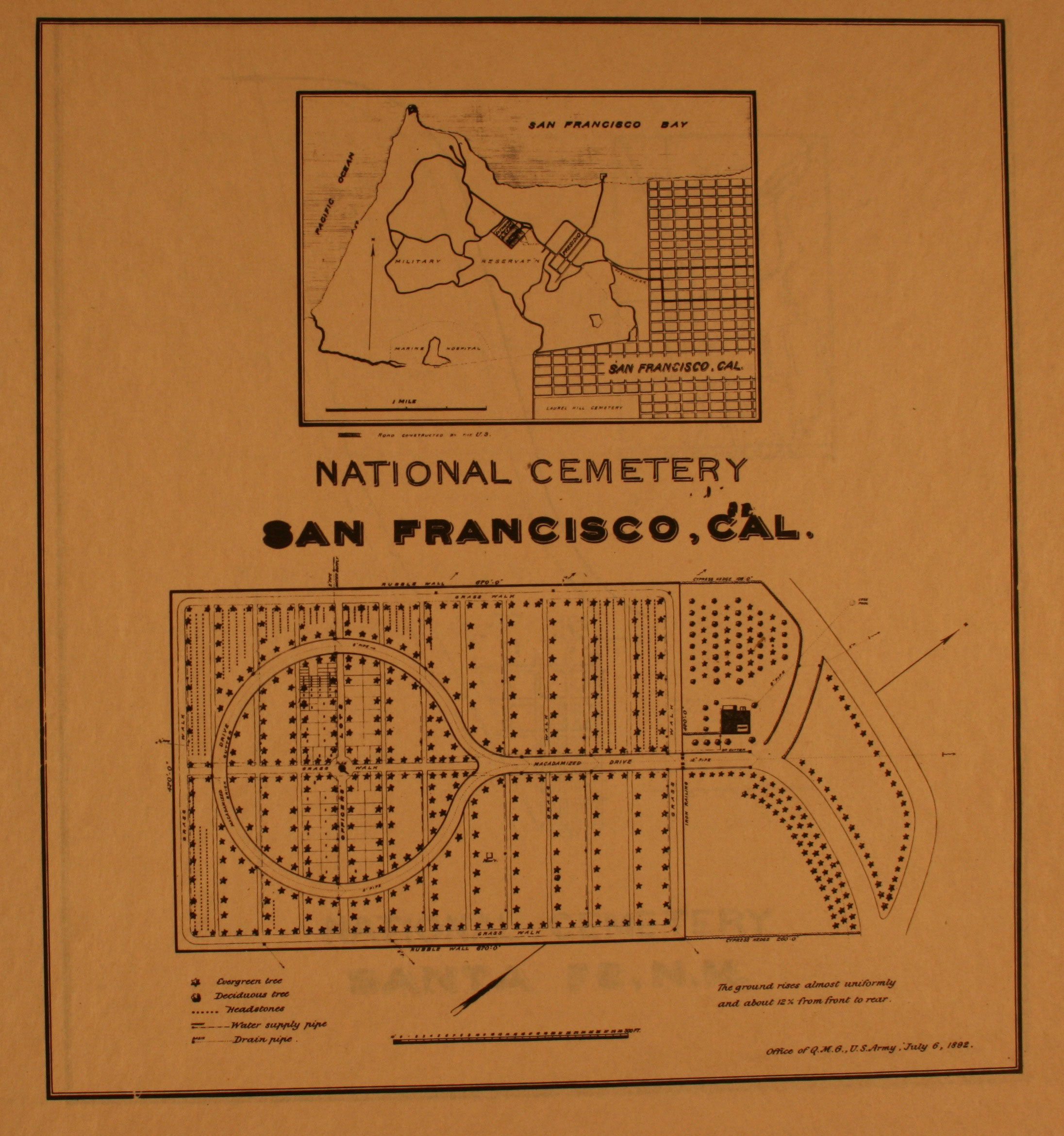 1893 site plan of san francisco national cemetery courtesy of the national archives and records administration click on image to enlarge