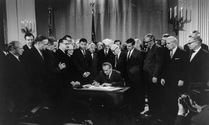 Introduction Essaypresidents A Discover Our Shared Heritage  President Lyndon Johnson Signs The Civil Rights Act Bill