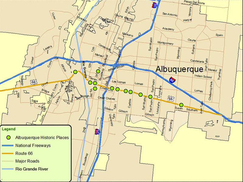 Map of AlbuquerqueRoute A Discover Our Shared Heritage Travel – Travel Route 66 Map