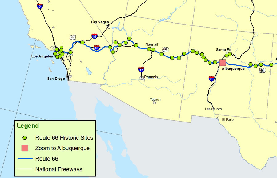 New Mexico Arizona and California MapRoute A Discover Our – Travel Route 66 Map