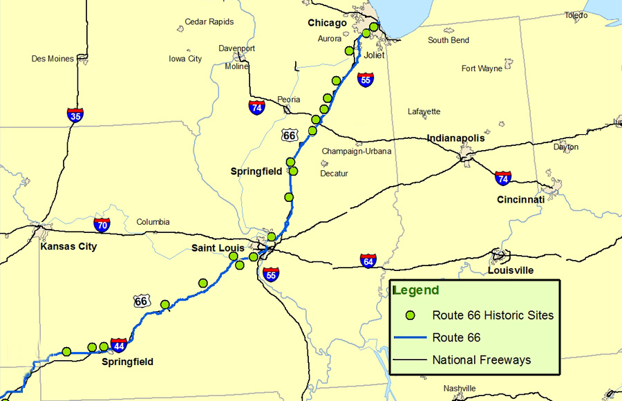 Illinois and Missouri MapRoute A Discover Our Shared Heritage – Travel Route 66 Map