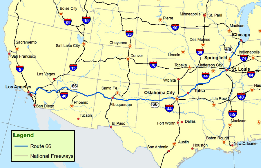 Route 66 Map  Route: A Discover Our Shared Heritage Travel Itinerary