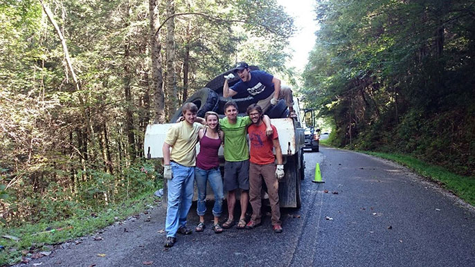 Volunteers posing in front of their haul