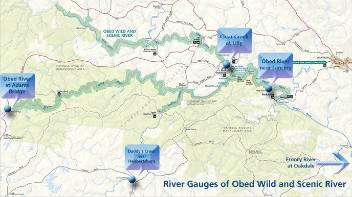 OBEDmap with river gauges