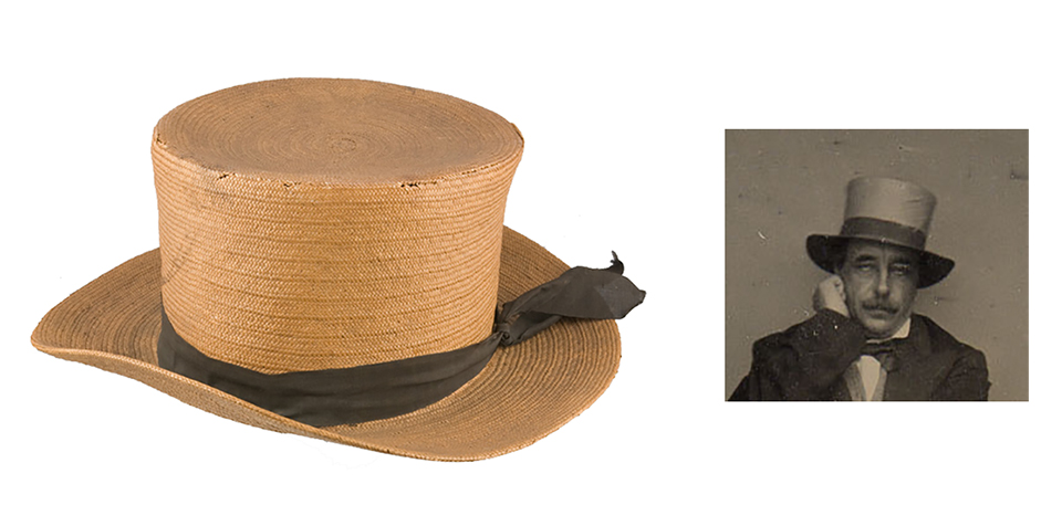 A 19th century men's straw hat.