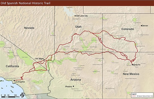 Maps Old Spanish National Historic Trail US National Park - Map of or